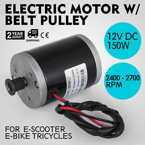 Electric Motor 12v Dc Motor With Belt Pulley 150w Shaft 8 Mm Pulley 3500rpm