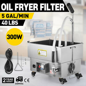 22l Oil Filter Oil Filtration System 300w Drain Type Fryers Stainless Steel