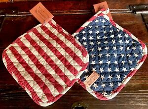 Nwt Set Of 2 Potholders Primitive Country Americana Stars Stripes Red Blue