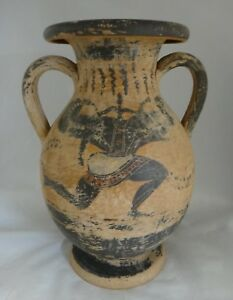Antique Greek Pottery Two Handled Vase W Finely Painted Scenes 12 3 8 Tall