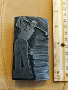 Letterpress Printing Printer Block Press Metal Type Golf Golfer