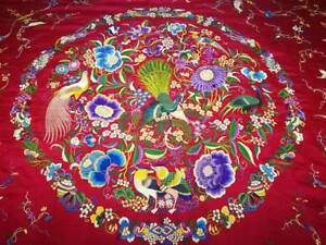 Antique Chinese Silk Coverlet Cantonese Large Bedspread Red Silk Superb