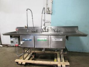 american Delphi Commercial Hd 3 Compartment Seafood fish Prep processing Sink
