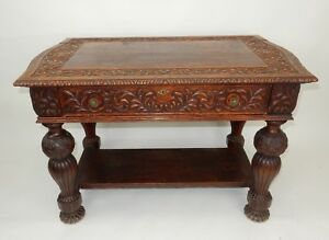 Antique Intricately Carved Oak Library Table 50 25 Circa 1860