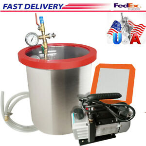 5 Gallon Vacuum Chamber W 3 Cfm Pump Hose Lid Air Filter Degassing Silicone Kit