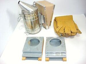 Dadant And Sons Bee Hive Smoker With Gloves And 2 Feeders