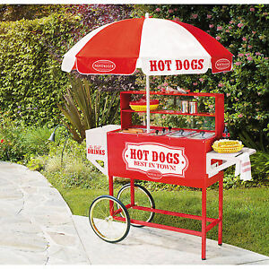 Hot Dog Cart Tall Concession Stand Food Vending Wiener Frank Push Umbrella Wheel