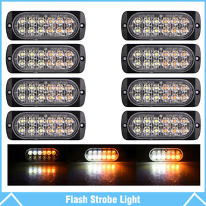 8pcs Amber white 12 Led Car Truck Emergency Warning Hazard Flash Strobe Lights