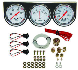 Universal 2 5 8 Chrome Oil Pressure Water Amp Triple 3 Gauge Set Gauges Kit