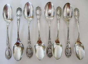 Vintage Antique Sterling Silver Teaspoons Whiting Florence Victorian Pattern