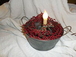Galvanized Primitive Metal Tub C Try Candle Lamp New Deep Red Pip Berry Garland