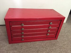 Vintage Huot Drill Bit Cabinet Organizer With 5 Drawers For Bits 1 60
