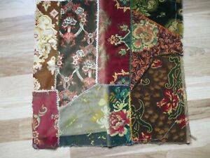 Antique Crazy Patch Velvet Patchwork Quilt Covered Pillow Topper 22 X 22