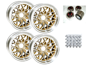 Trans Am 15x8 Snowflake Kit Gold Wheels Stainless Center Caps New Lug Nuts