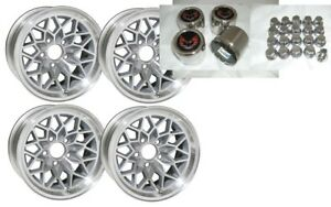Trans Am 15x8 Snowflake Kit Silver Wheels stainless Center Caps New Lug Nuts