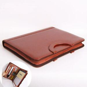 File Folder A4 Leather Portfolio Manager Portable Document Zipper Brown Bag Case