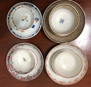 Antique 18th Century Qing Chinese Export Porcelain Tea Bowl Saucer Lot
