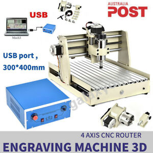 Usb 4 Axis 3040t Cnc Router Engraver Drilling Wood Cutter 3d Carver Machine Usa
