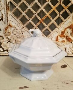 Old Ironstone White Soup Vintage Tureen By Red Cliff