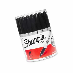 Sharpie Fine Point Permanent Marker Black canister With 36 Pens Stick