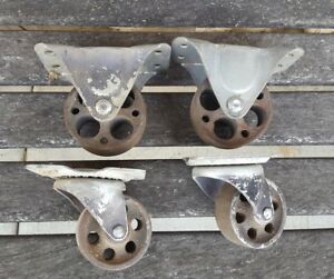 2 Pair Factory Cart Casters Antique Cast Iron 3 25 8 2 Swival 2 Fixed 05