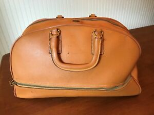Vintage Tan Heavy Duty Grain Leather Double Handled Doctors Briefcase Bag