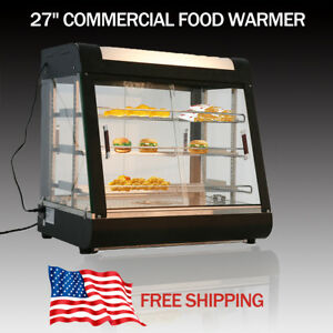 27 Food Warmer Commercial Court Heat Food Pizza Display Warmer Cabinet Glass