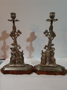 Antique Silver Plated Candle Holders Wood Base Mother Child Tree India Set Of 2