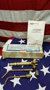 Airco Style 750 800 Brass Welding Torch Bundle W Tips Made In Usa Nos Vintage