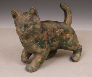 Mid Century Iron Cat Statue Or Doorstop With Great Patina Jem