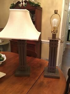 Pair Of Designer Stonegate Designs Industrial Iron Lamps Contemporary