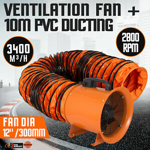 12 Extractor Fan Blower Portable 10m Duct Hose Ventilation Utility Heavy Duty