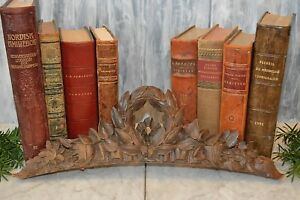 Antique French Carved Wood Arched Pediment Laurel Wreath Floral Swags