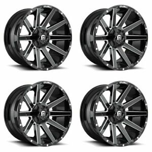 Set 4 22 Fuel Contra D615 Gloss Black Milled Wheels 22x10 8x170 18mm Lifted