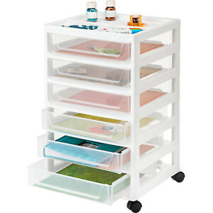 Iris 6 drawer Scrapbook Storage Cart White