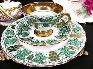 Rosina Tea Cup And Saucer Grapes Gold Gilt Trio Green Teacup Pattern