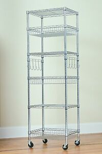 6 Tier Multipurpose Steel Wire Storage Rack chrome 18 x24 x75 With Bonus Liners