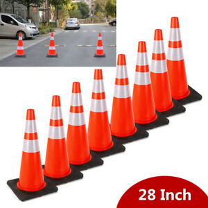8pcs Safety Cones 28 Road Parking Traffic Cones With Two Reflective Collars