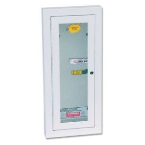Fire Extinguisher Cabinet Locked Galvanized Potter Breakable Glass Mount White
