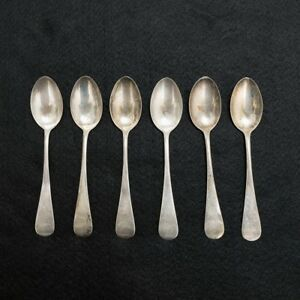 6 Antique Sterling Silver Teaspoons 5 5 Long Total Weight 90 Grams 3 2 Oz