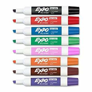 Expo 80078 Low Odor Dry Erase Markers Chisel Tip Assorted Colors 12 Sets With