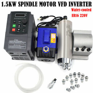 1 5kw Cnc Er16 Spindle Motor Water Cooled 24000rpm vfd Inventer bracket collets