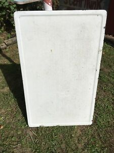 Vintage Enamel Metal Table Top White Porcelain Country Hoosier Grey Granit Ware