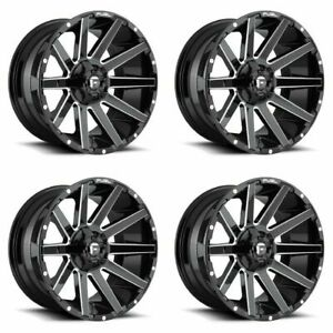 Set 4 22 Fuel Contra D615 Gloss Black Milled Rims 22x12 5x4 5 5x5 44mm Lifted