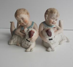 Antique Piano Baby Figurines Baby Girls Dogs Twins Figures Heubach Germany