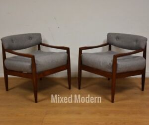 Walnut Grey Mid Century Modern Adrian Pearsall Lounge Chairs A Pair