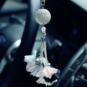 Luxury Car Pendant Diamond Crystal Ball Rear View Mirror Charm Hanging Decor
