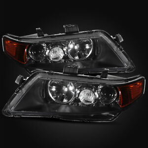 For 2004 2005 Acura Tsx Jdm Style Black Projector Headlights Assembly Left Right