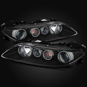 For 06 08 Mazda 6 Halogen Type Black Proejctor Headlights Lamps Assembly Lh Rh
