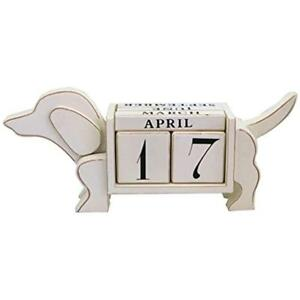 Shabby Desk Calendars Chic Dog Shaped Wood Blocks Perpetual Calendar 13 4 X 3 1